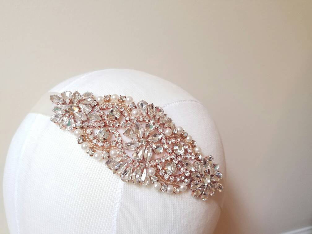 Rose gold bridal headband, Rose gold bridal sash, Rose gold headpiece, Rose gold belt, Bridal tiara
