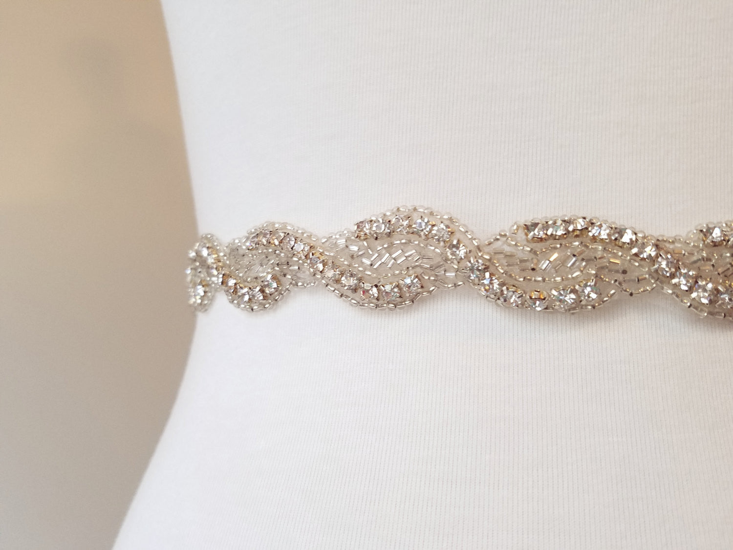 Bridal sash wedding belt rhinestone crystal sash twisted braided wedding gown dress accessory