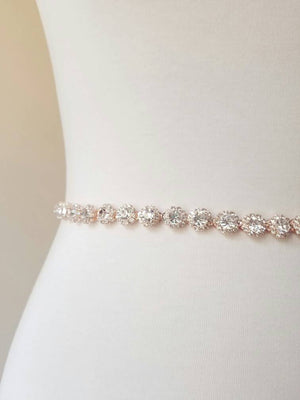Rose Gold Bridal Sash Skinny Bridal Belt Rhinestone Sash Rhinestone Belt, Headband, Bridal Gown, Wedding Dress, Accessory, Silver, Rose Gold
