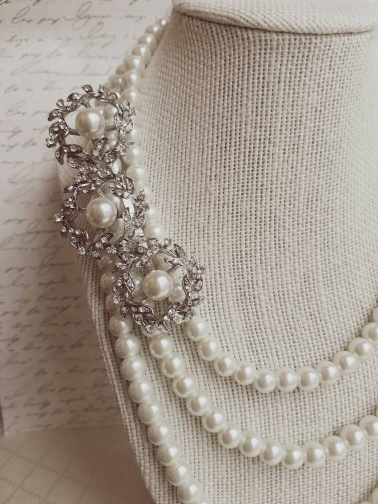 Art Deco Pearl Feather Brooch Bridal Necklace