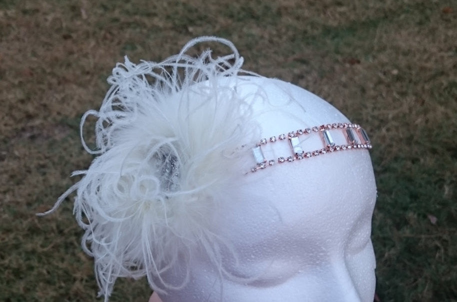Rose gold headband, flapper headband, great gatsby headband, bridal headband, 1920's feather headband, flapper costume, holiday party