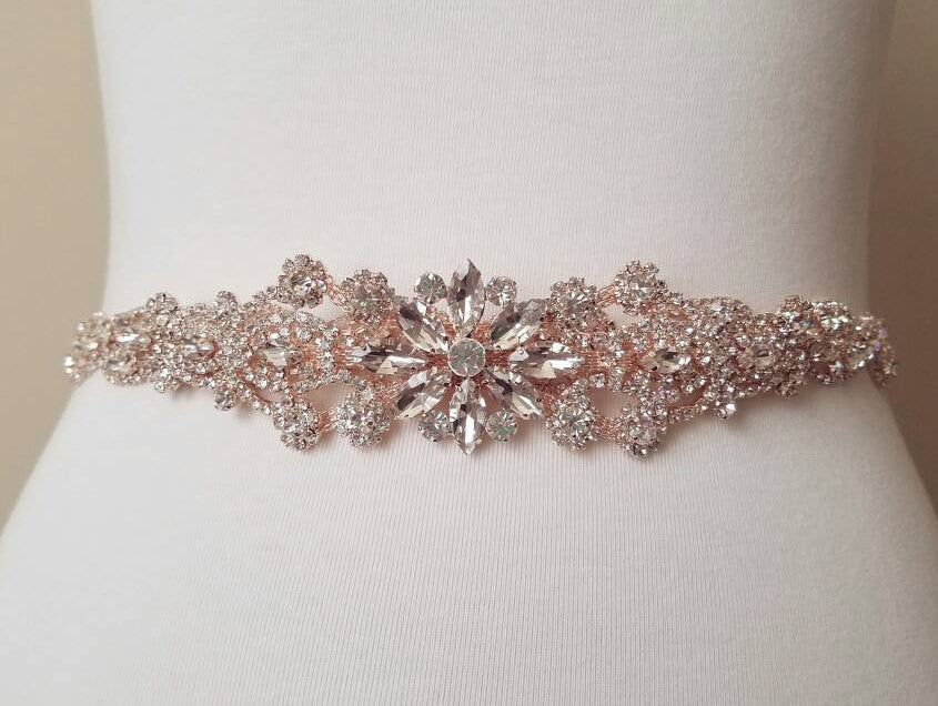 Rose gold bridal sash wedding belt wedding gown dress accessory crystal rhinestone pearl
