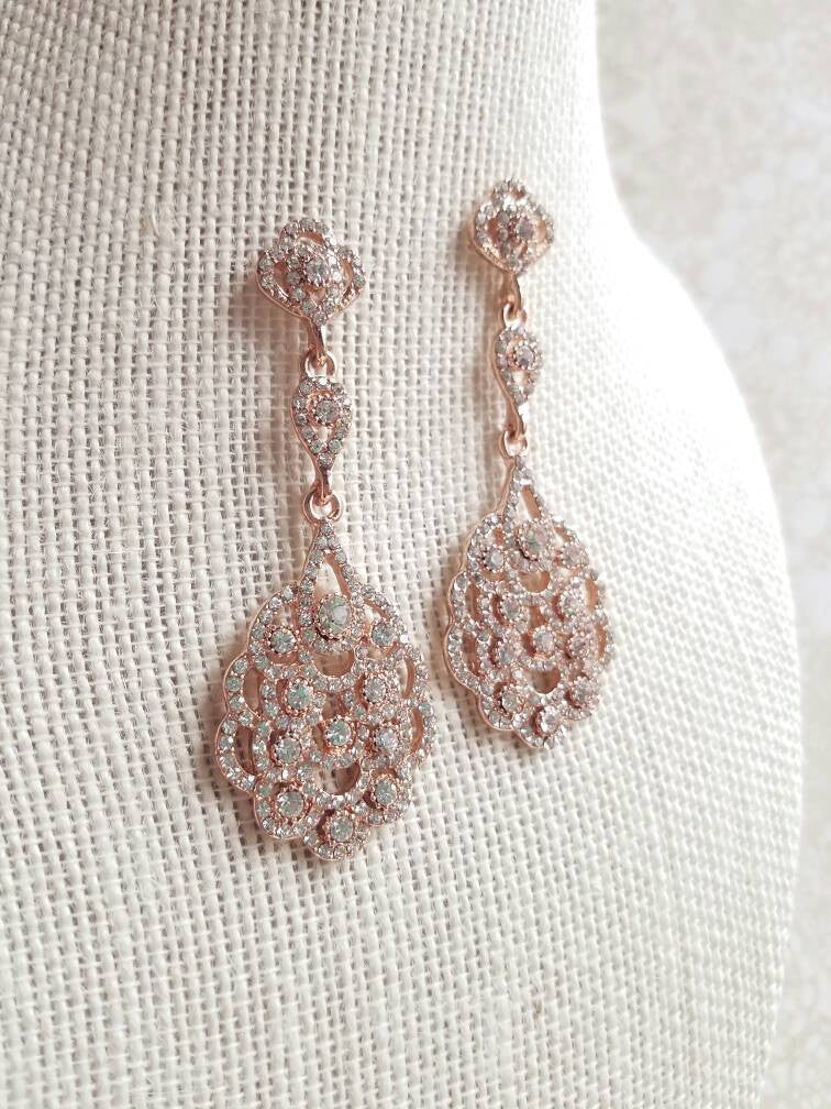 Rose Gold Earrings Rose Gold Bridal Earrings Art Deco Earrings