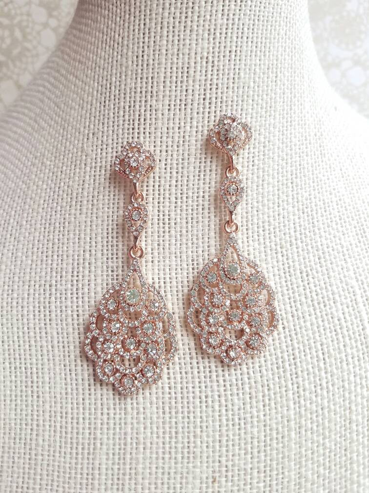 Rose Gold Art Deco Chandelier Bridal Earrings