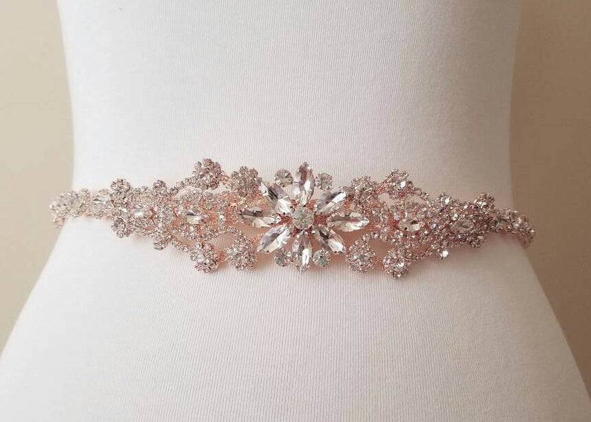 Rose gold bridal sash wedding belt wedding gown dress accessory crystal rhinestone statement sash