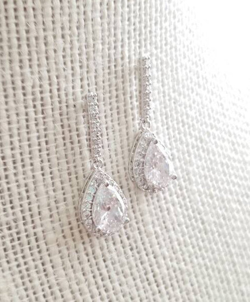 Bridesmaid Earrings, CZ drop Earrings, Kate Middleton inspired earrings, Silver Earrings, Pear Shape, Tear Drop, Bridesmaids Gift, Gift