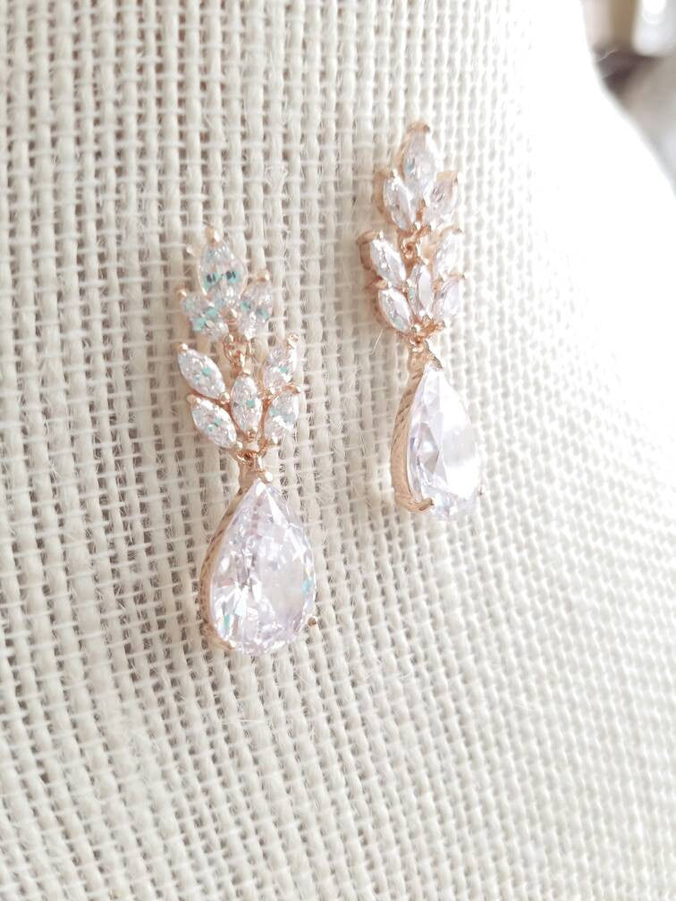 Rose Gold Cubic Zirconia Teardrop Bridal Earrings