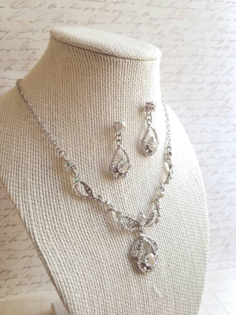 Bridesmaid Jewelry SET, Bridesmaids Gift, jewelry set, Crystal necklace, Rhinestone necklace and earrings, Crystal earrings, Plus Size