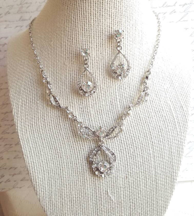 BRIDAL Jewelry SET, Wedding jewelry set, Crystal necklace, Rhinestone necklace and earrings, Crystal earrings, Plus Size