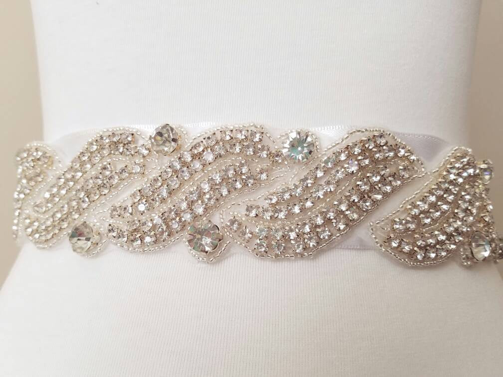 Wide Crystal Bridal Sash Belt Wedding Sashes Belts Rhinestone Crystal Wedding Dress Belt Crystal Wedding Belt Beaded Wide Belt