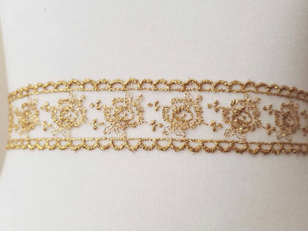 Bridal Sash, Wedding Sash, Bridal Belt, Embroidered Lace, Gold Embroidered Lace, Lace Sash, Gold Sash