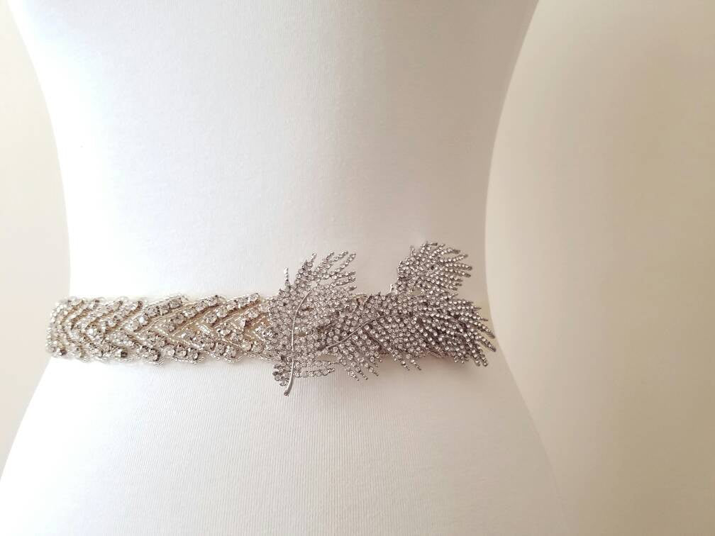 Bridal sash wedding belt crystal rhinestone brooch twisted statement sash great gatsby art deco gown dress accessory