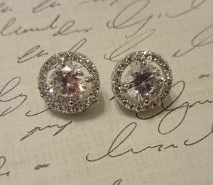 Kate Middleton Inspired CZ earrings, stud pave cubic zirconia earrings, wedding jewelry, bridal jewelry, bridal earrings