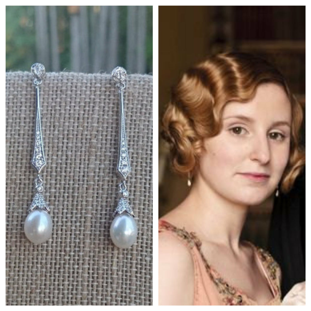 Downton Abbey Inspired Long Pearl Bridal Earrings