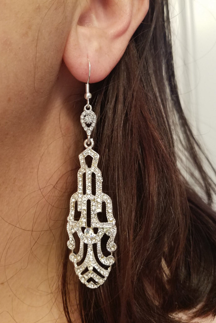 Art Deco Earrings, Long earrings, Antique Silver Crystal Bridal Chandelier Earrings Great Gatsby Style Art Deco CZ Cubic Zirconia