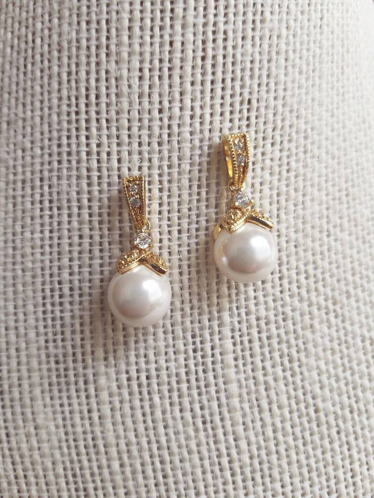 Bridal Earrings, Pearl Dangle Earrings, Gold Earrings, Pearl Earrings, Gold Bridal Earrings, Pearl Drop Earrings, Bridesmaid Earrings