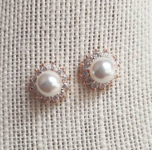 Rose Gold Crystal Pearl Stud Earrings