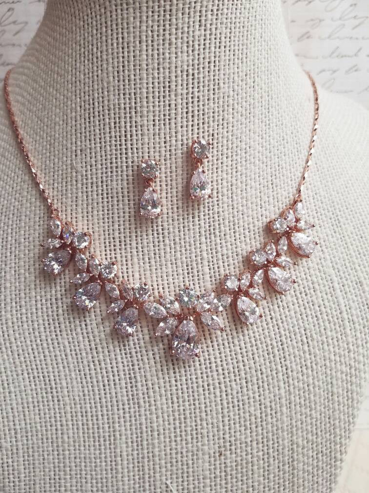 Rose gold jewelry set, Rose Gold necklace, CZ necklace, Rose Gold earrings, Necklace set, Bridal jewelry set, Wedding, Bridal, bridesmaid