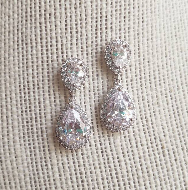 Bridal earrings, CZ bridal earrings, silver bridal earrings, teardrop earrings, drop earrings, dangle earrings, wedding, Bridesmaid gift