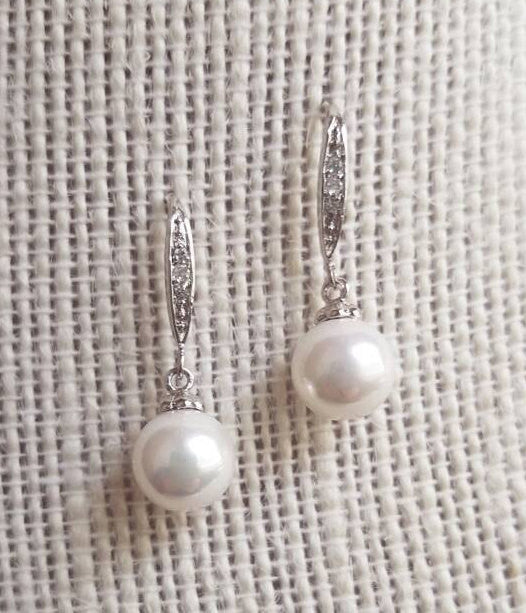 Pearl Drop Earrings, Vintage Style, CZ, Bridal Dangle Earrings, Wedding, Jewelry, art deco, downton abbey, antique, pearl dangle, Bridesmaid