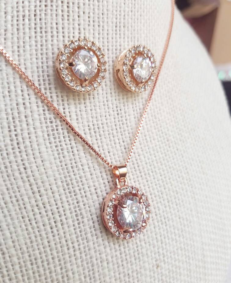 d07ffc322d67e Rose Gold jewelry Set, Silver, CZ Set, Rose Gold Wedding necklace, Crystal  Bridal, Necklace earrings, Wedding jewelry, Bridesmaid gift