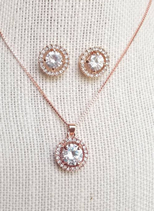 Rose Gold jewelry Set, Silver, CZ Set, Rose Gold Wedding necklace, Crystal Bridal, Necklace earrings, Wedding jewelry, Bridesmaid gift