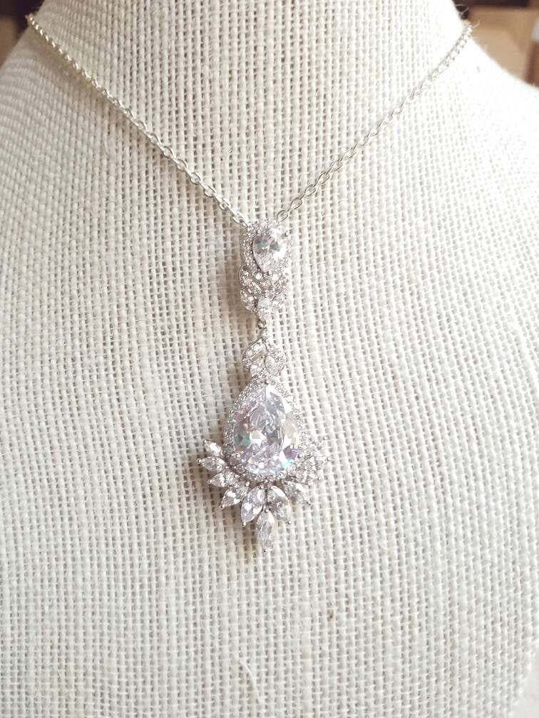 Bridal Necklace CZ Statement PendantWedding Necklace Cubic Zirconia Diamante Jewelry Set Necklace Earrings Chandelier Gift