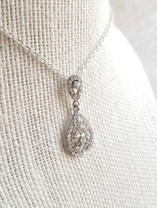 Art Deco pendant necklace Bridal Wedding necklace micro pave vintage style 1920s Great Gatsby jewelry set