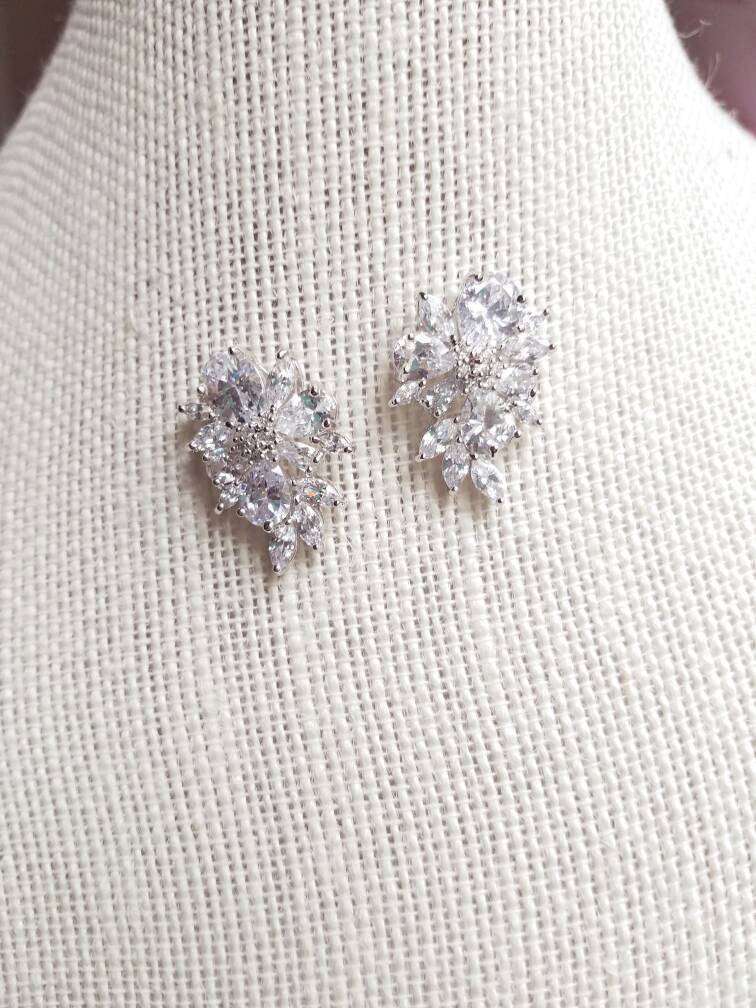 Cubic Zirconia Cluster Bridal Stud Earrings