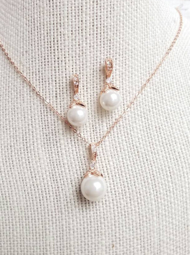 Rose Gold Jewelry, Rose Gold Jewelry Set, Rose Gold Pearl Jewelry Set, Rose Gold Pearl Necklace, Rose Gold Pearl Earrings, Rose Gold Set