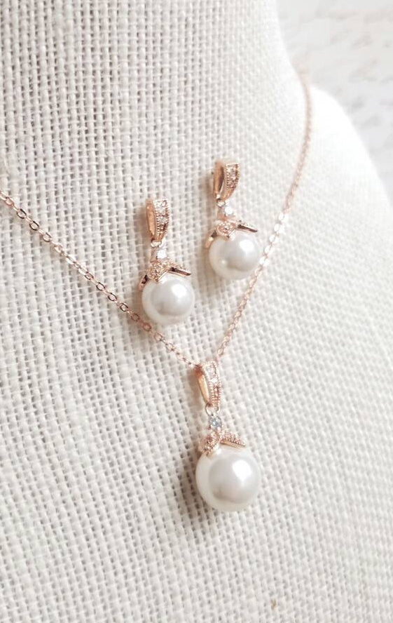 Rose Gold, Pearl Drop Bridal Earrings and Necklace Jewelry Set, White Pearl Wedding Jewelry Set, Wedding Necklace, Bridesmaids Jewelry Set