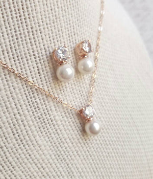 Rose Gold Jewelry Set, Pearl Jewelry Set, Cubic Zirconia Jewelry Set, Necklace, Earrings, Rose Gold, Bridesmaid Jewelry