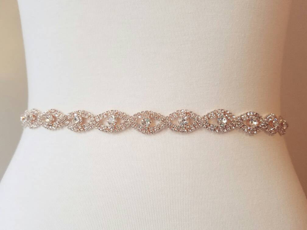 Rose gold bridal sash skinny thin wedding belt rhinestone crystal sash