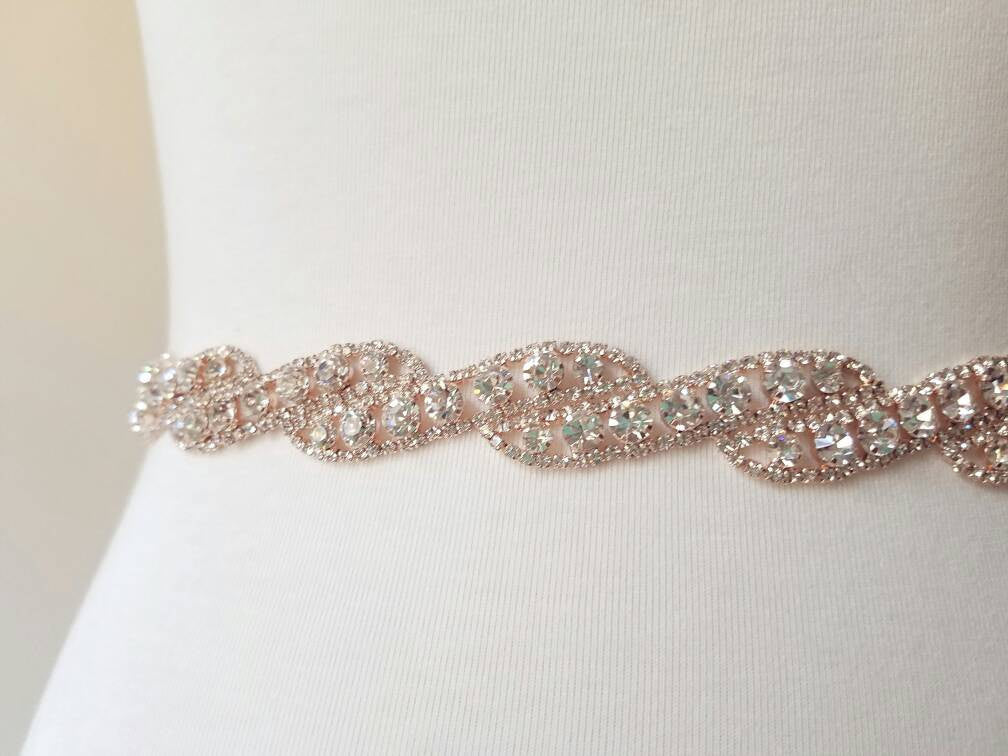 Rose Gold Bridal Sash Skinny Thin Rhinestone Belt Wedding Sash Belt Bridal Gown Wedding Dress Accessory Rose Gold Rhinestone Trim