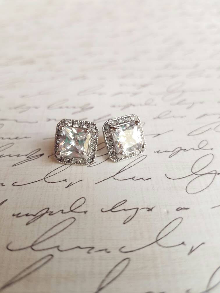 Princess Cut Cubic Zirconia Halo Stud Earrings