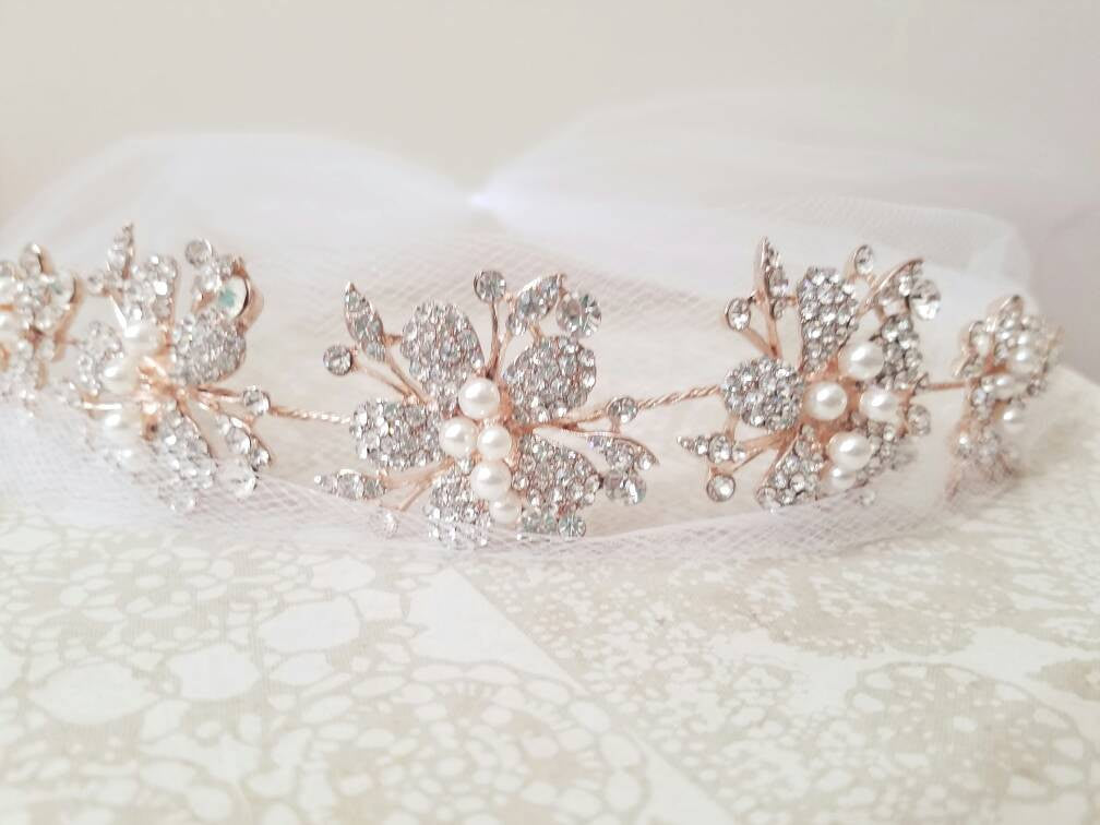 Rose Gold Crystal Flower Bridal Headband