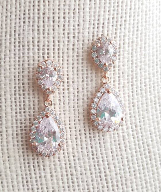Rose gold earrings, rose gold, bridal earrings, rose gold bridal earrings, teardrop earrings, drop earrings, dangle