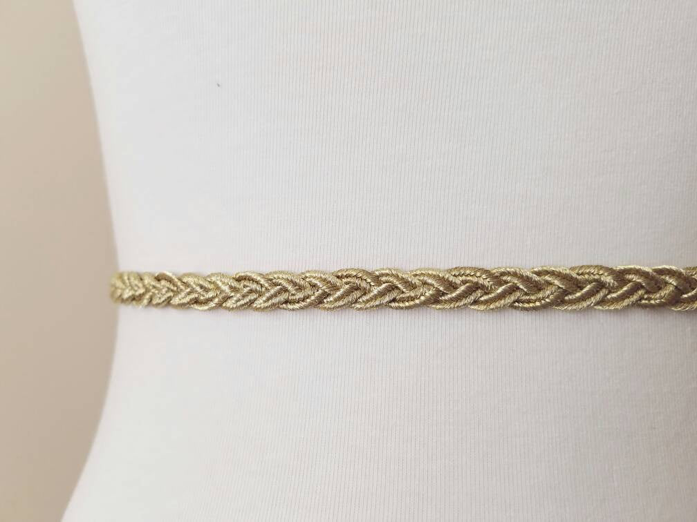 Gold Bridal Belt, Gold Braided Bridal Belt, Gold Braided Bridesmaid Belt, Weddnig Belt, Wedding Sash, Gold Sash, Gold Belt