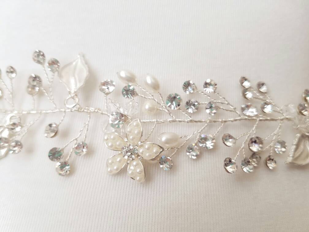 Swarovski Crystal Leaf and Vine bridal sash wedding belt