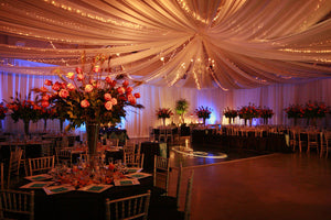 Extremely Wide DIY Tulle Fabric Wedding Ceiling Drapery