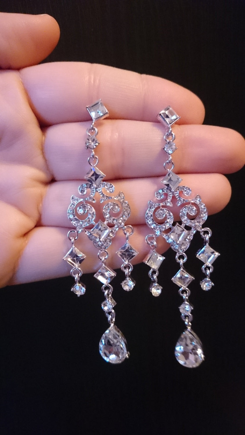 Sale 50% off, Chandelier Earrings, Crystal earrings, Long Earrings, Crystal jewelry, bridal Earrings Antique Style