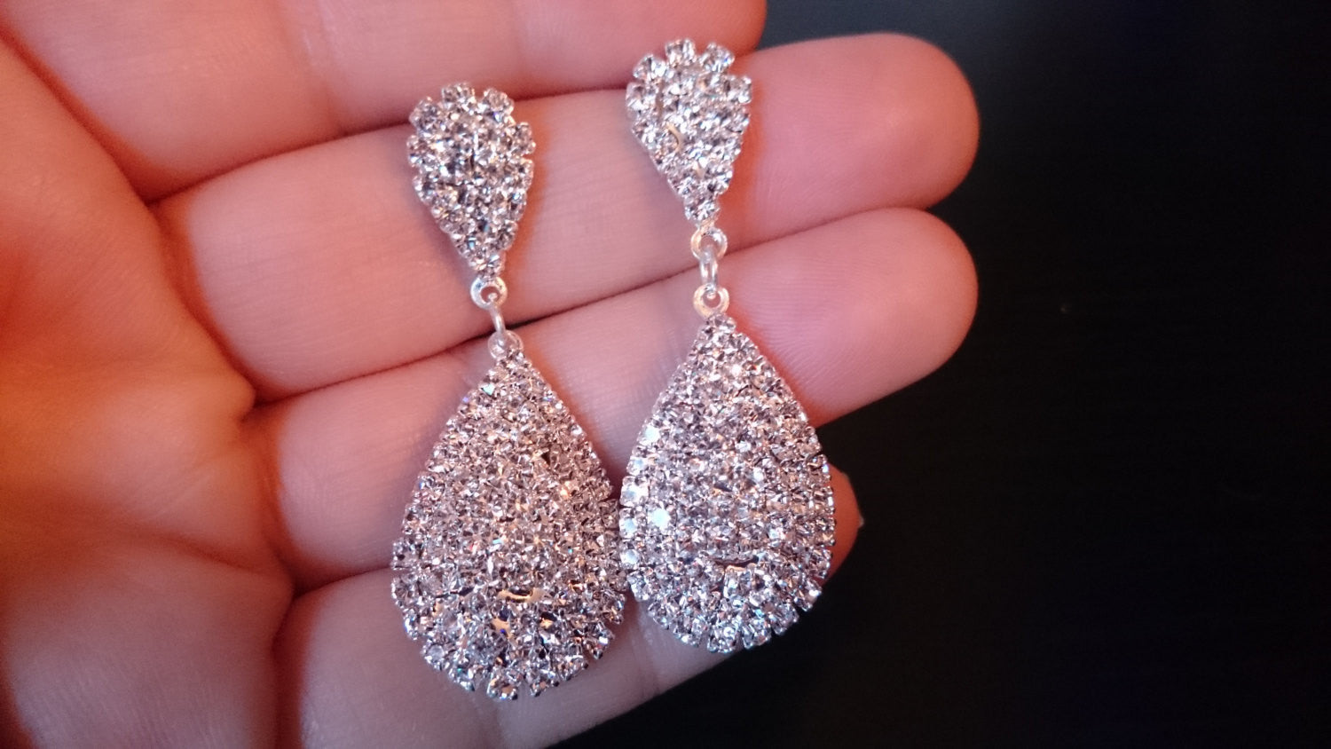 Bridal Earrings, Crystal Earrings, CZ Encrusted, Pave Teardrop CZ Crystal Drop Earrings, Wedding Earrings, Bridesmaid, Pear Shape
