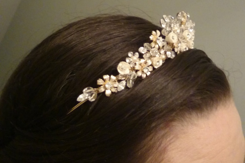 Gold Champagne Swarovski Crystal and Freshwater Pearl Bridal Tiara Crown Headband Floral Flower Rhinestone Wedding crown Halo