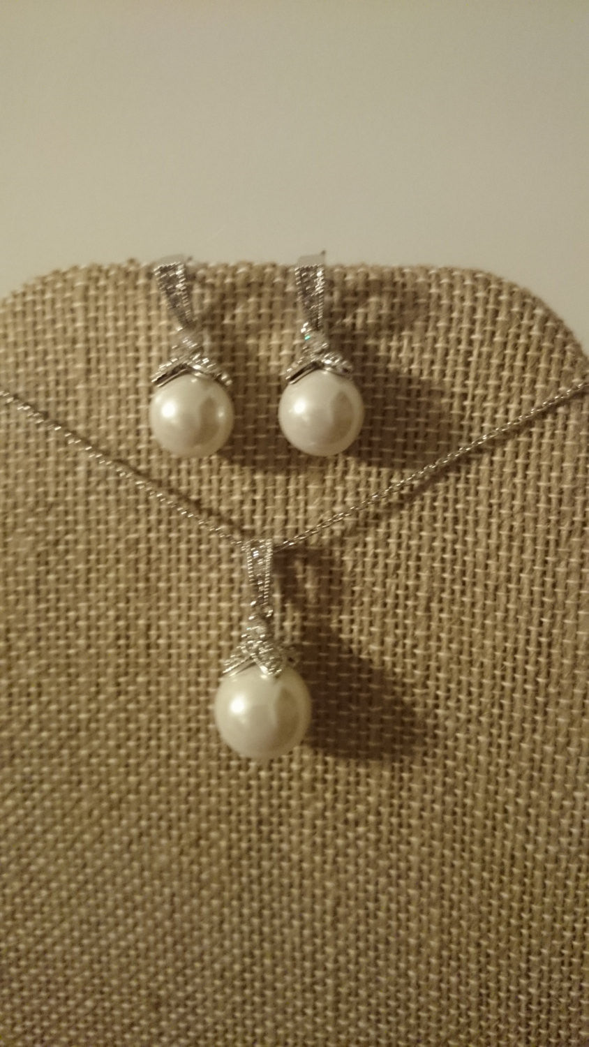 Pearl Drop Bridal Earrings and Necklace Jewelry Set, White Pearl Wedding Jewelry Set, Wedding Necklace, Bridesmaids Jewelry Set, Gift Set