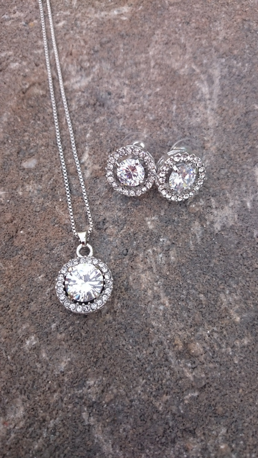 Jewelry Set, Bridesmaids Jewelry,  CZ Set, Wedding necklace, Crystal Bridal, Necklace earrings, Wedding jewelry, Bridesmaid gift