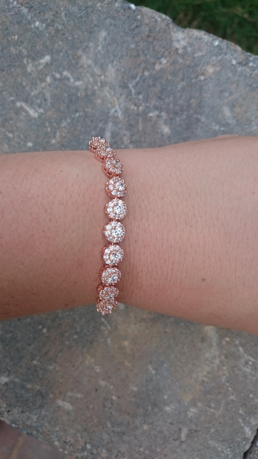 Rose Gold Cubic Zirconia Bridal Tennis Bracelet