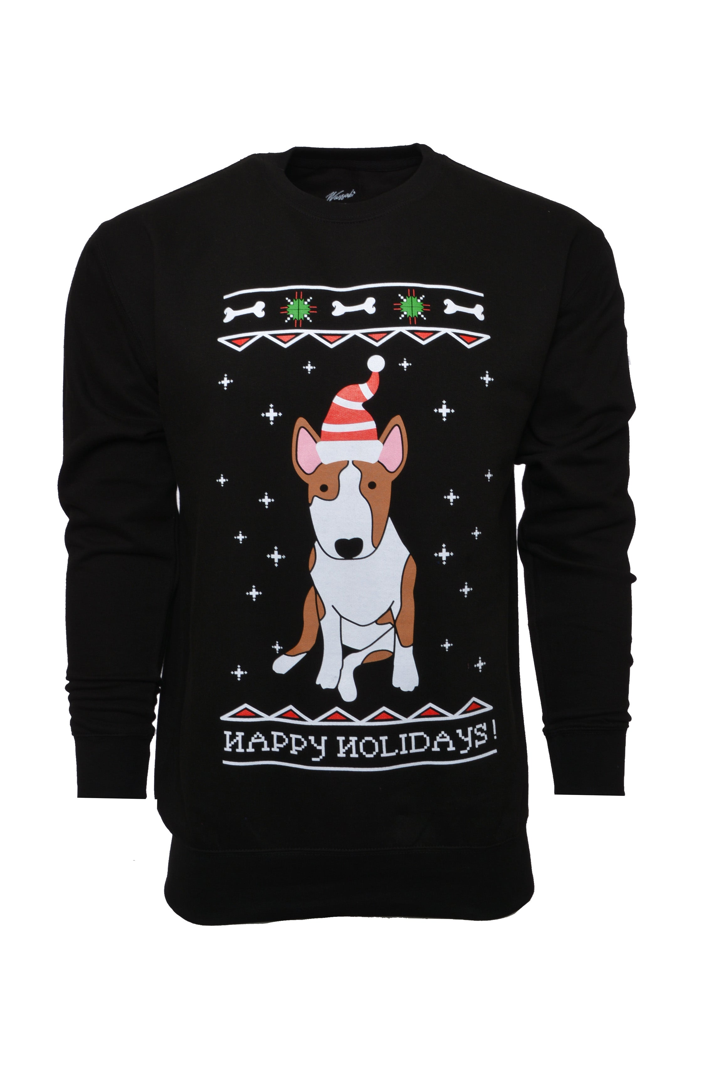 Wassabi Moosie Puppy Christmas Sweater - Black