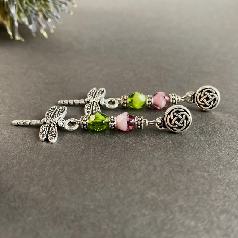 Celtic Dragonfly Earrings with Czech Beads. Scottish jewelry Gift. Gift box Included.