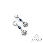 Thistle Charm Earrings with Faceted Sodalite Stone. Free Shipping.