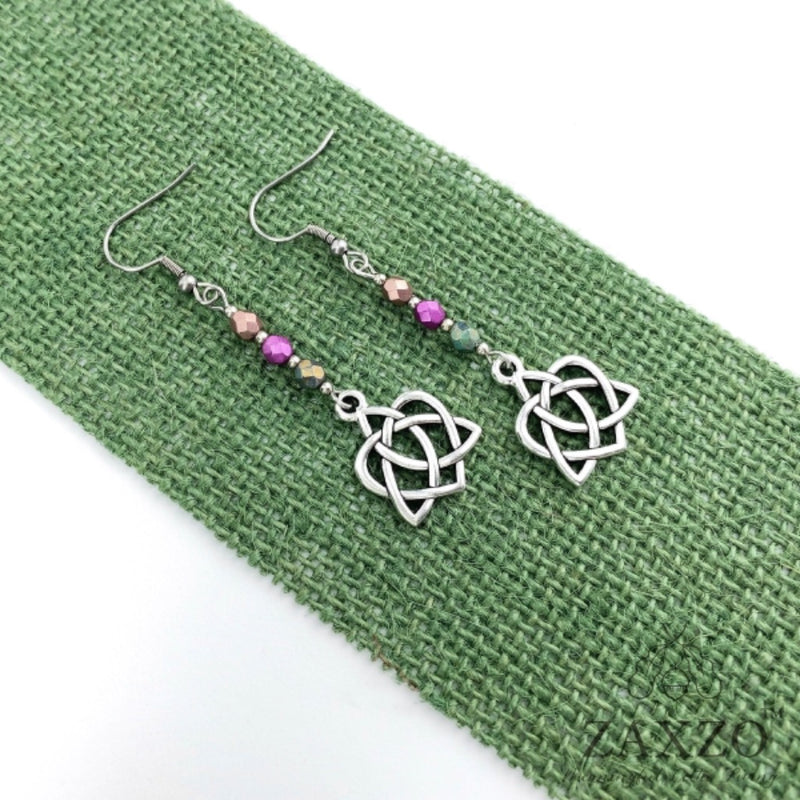 Celtic Sister Knot Earrings with Pink Czech Beads. Hypoallergenic Wire Earrings. Irish Earrings Gift.
